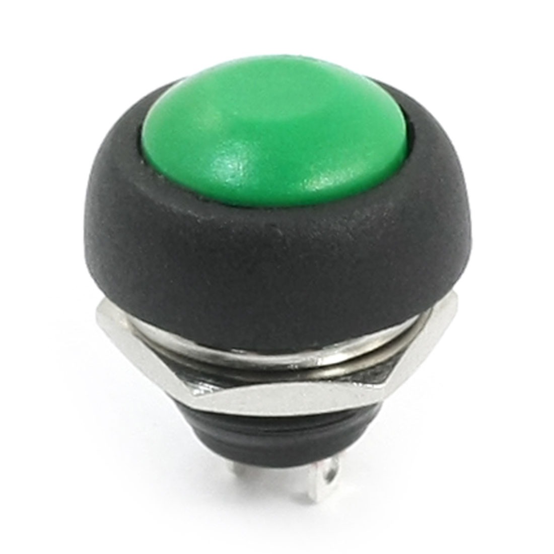 12mm Thread Panel Mounted SPST OFF/ON 2-Terminal Momentary Green Round Head Plastic Push Button Switch