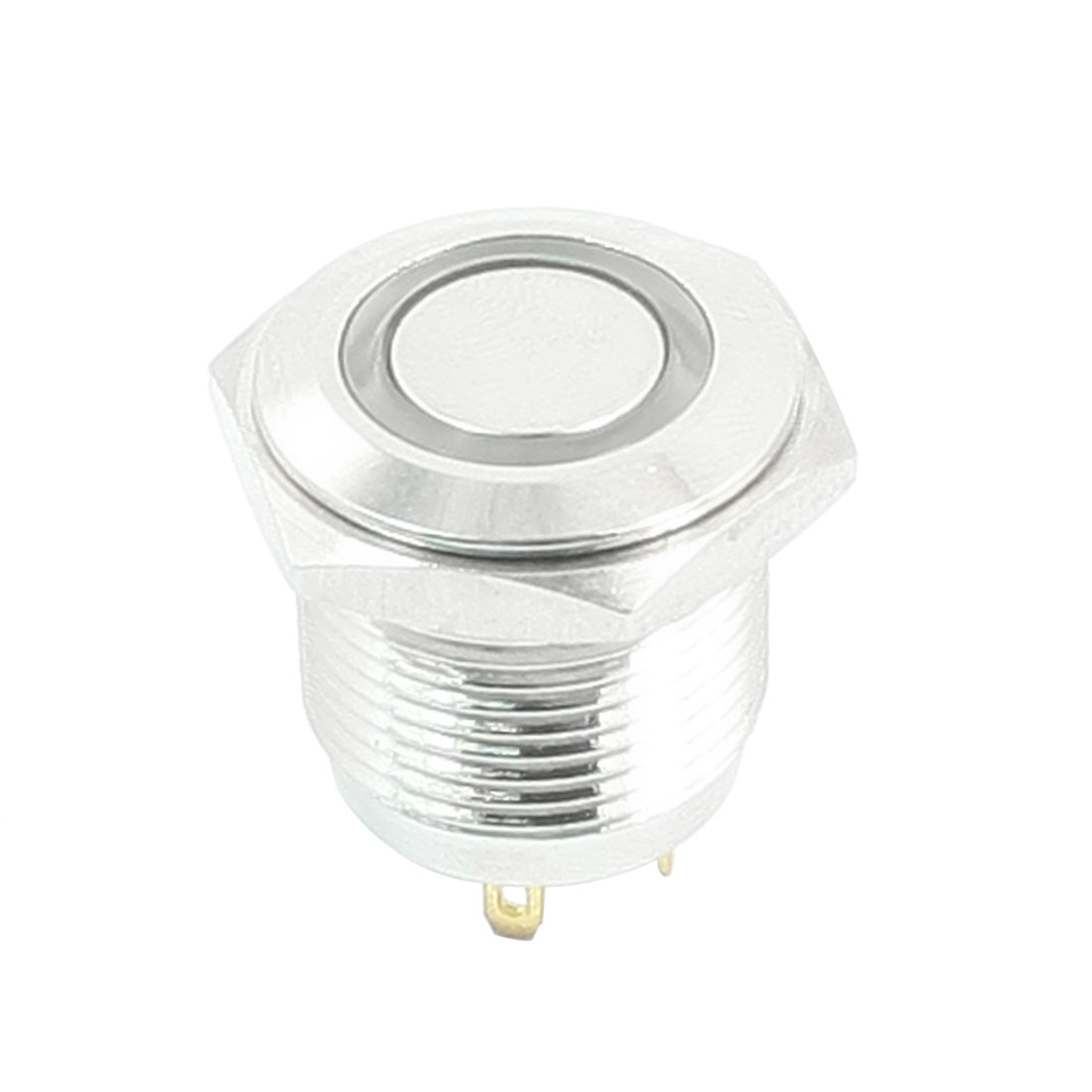 DC 3V Blue Power Indicator LED Angel Eye SPST Flat Head Panel Mount Momentary Metal Push Button Switch 16mm Thread