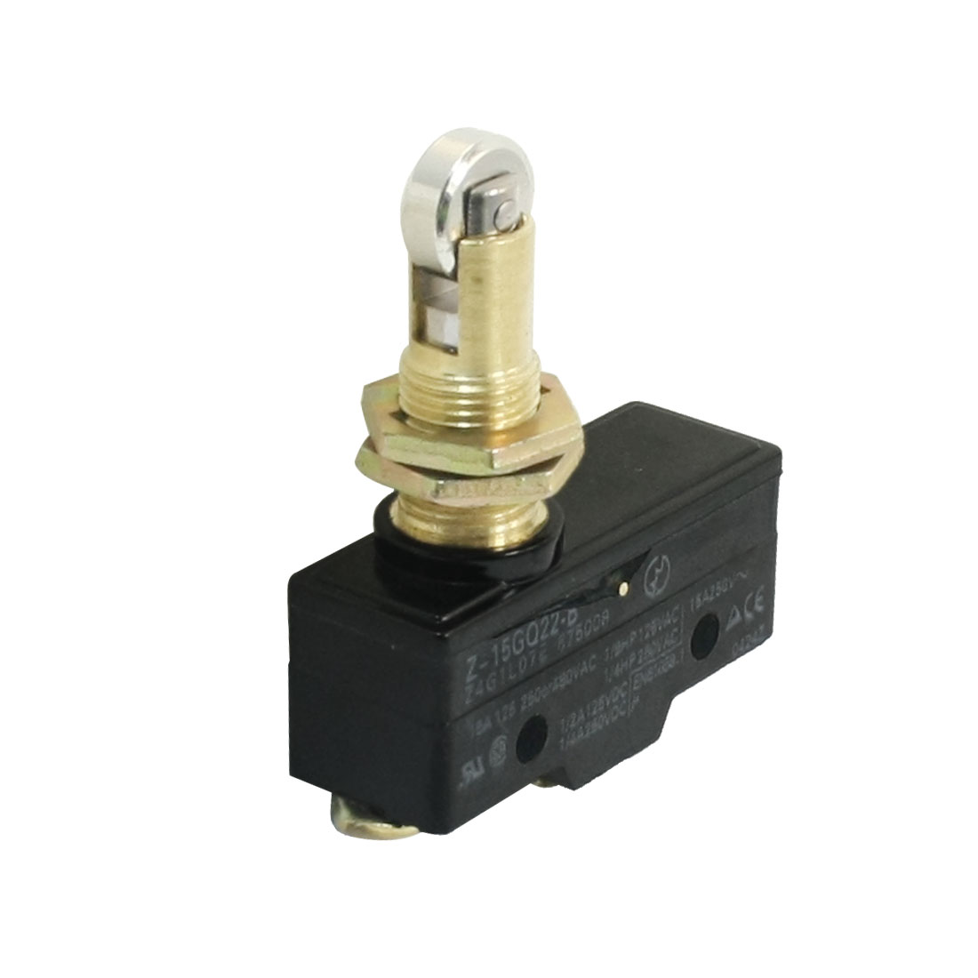 AC 125V/250V/480V 15A Z-15GQ22-B 3 Screw Terminals SPSD 1NO 1NC 12mm Thread Panel Mount Roller Plunger Basic Limit Switch