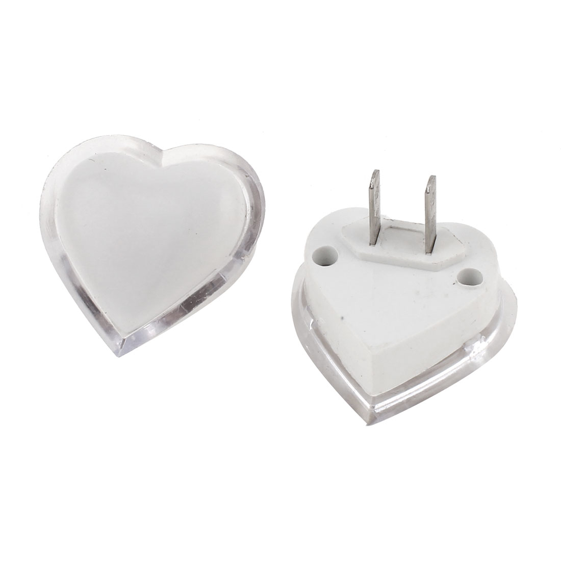 AC 120-250V 1W US Plug Heart Shaped Colorful LED Night Light Lamp 2 Pcs