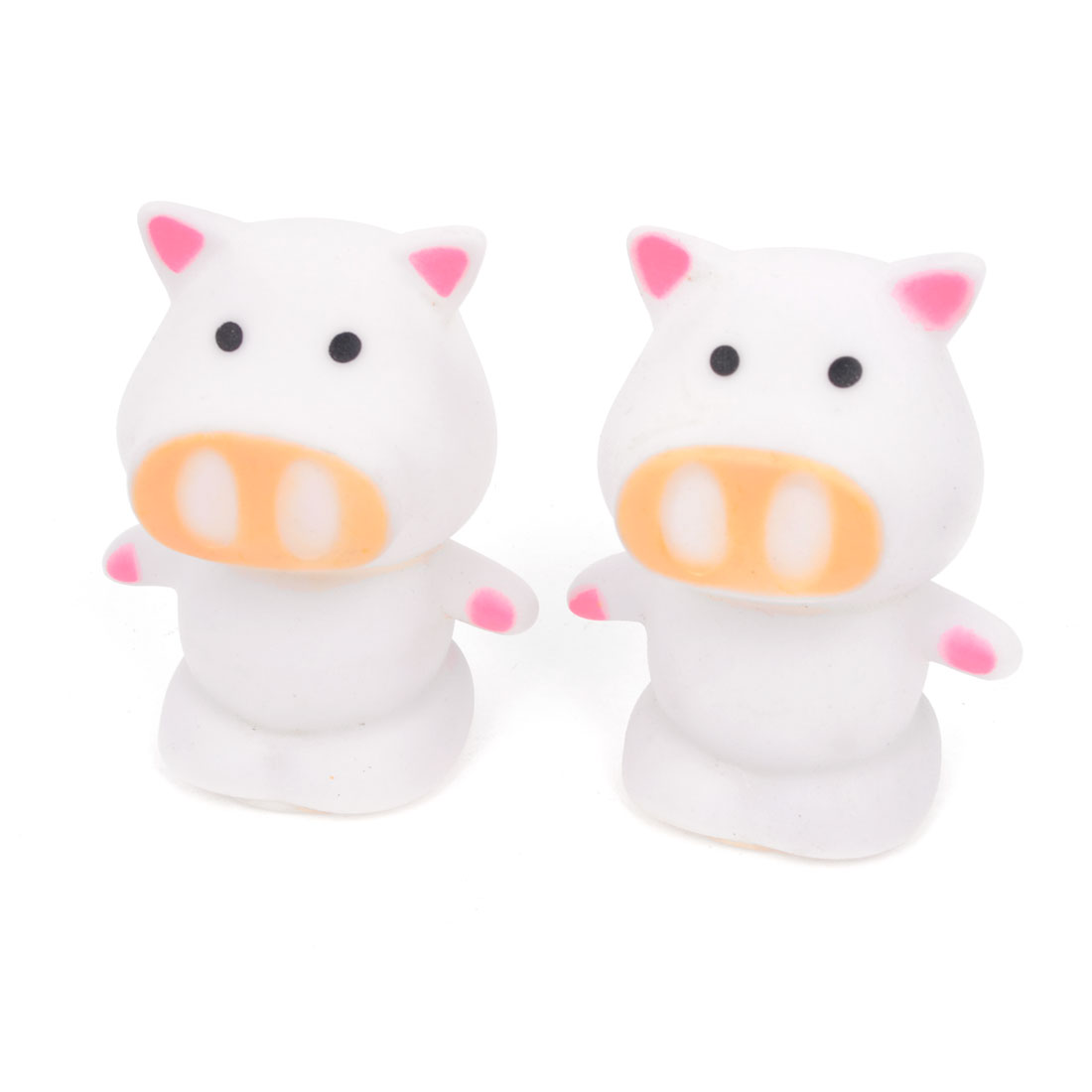 On/Off Switch Pig Shape Colorful Flash Night Light LED Lamp White 2 Pieces