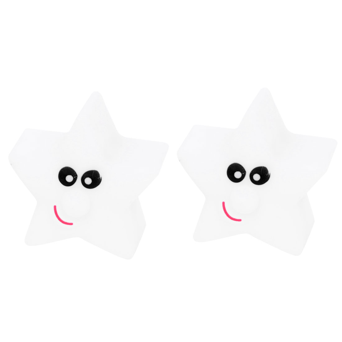 On/Off Switch Face Print Star Style Colorful Flash Night Light LED Lamp 2pcs