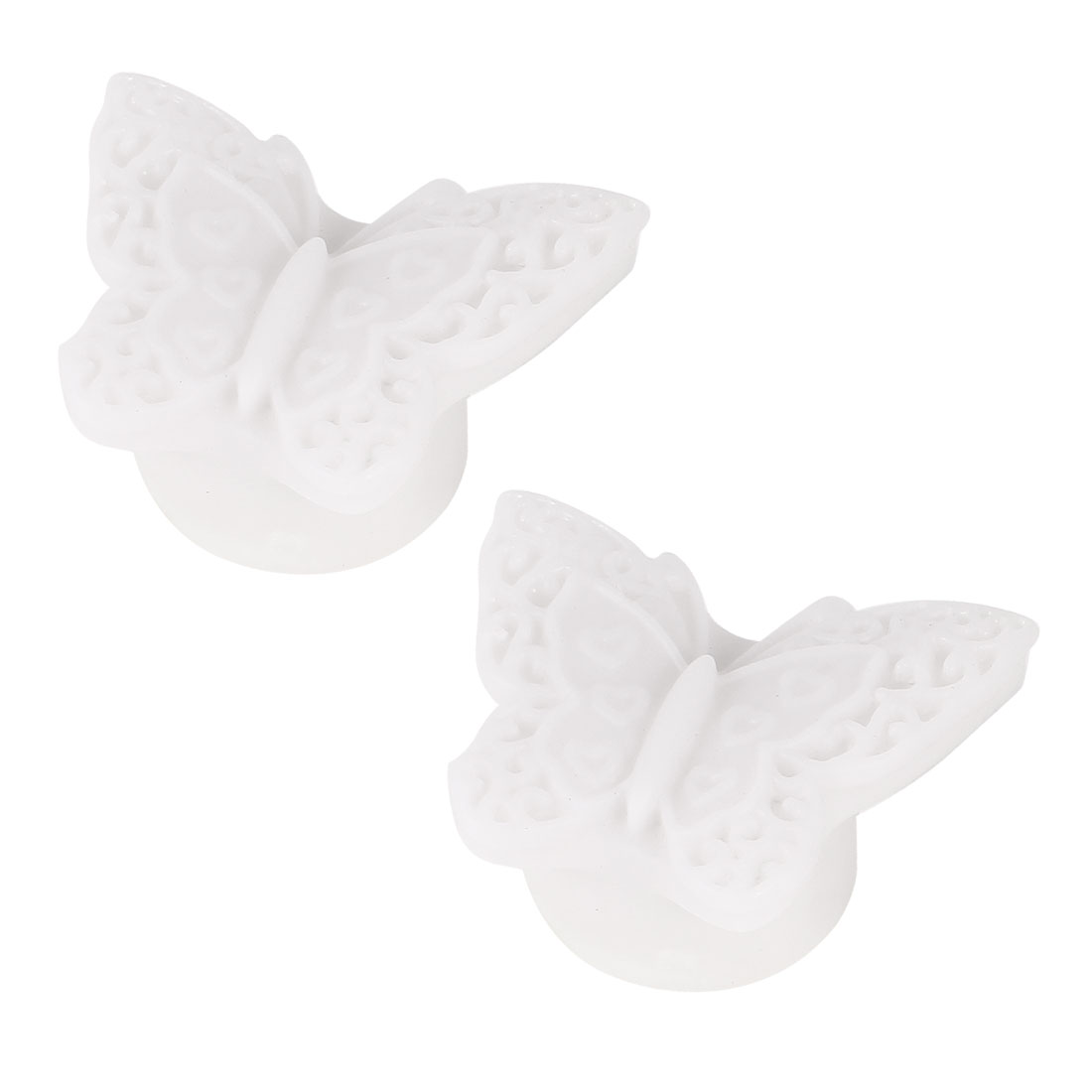 2 Pcs Butterfly Shaped Colorful LED Night Light Table Lamp White