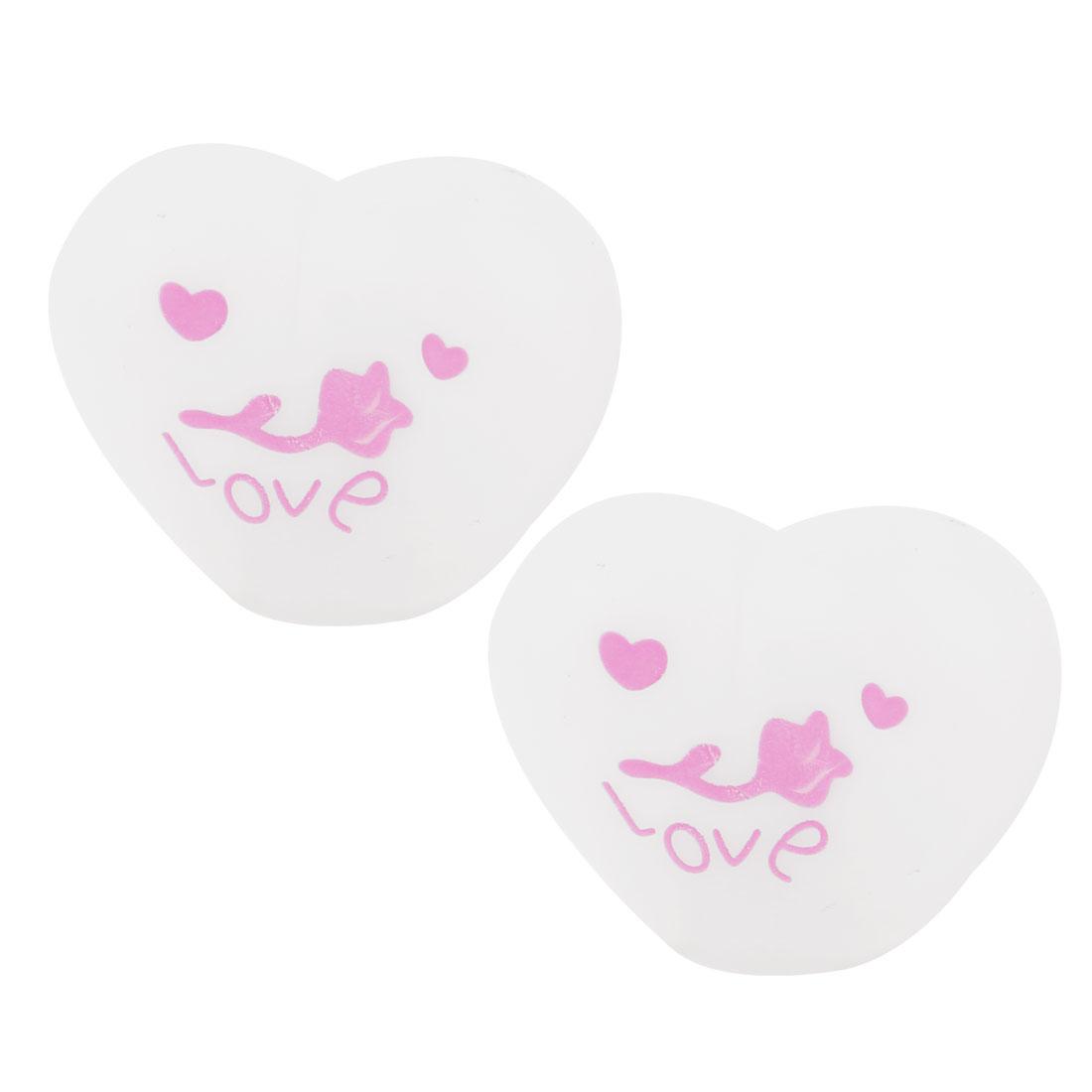 2 Pcs Love Heart Shaped Colorful LED Night Light Table Lamp White