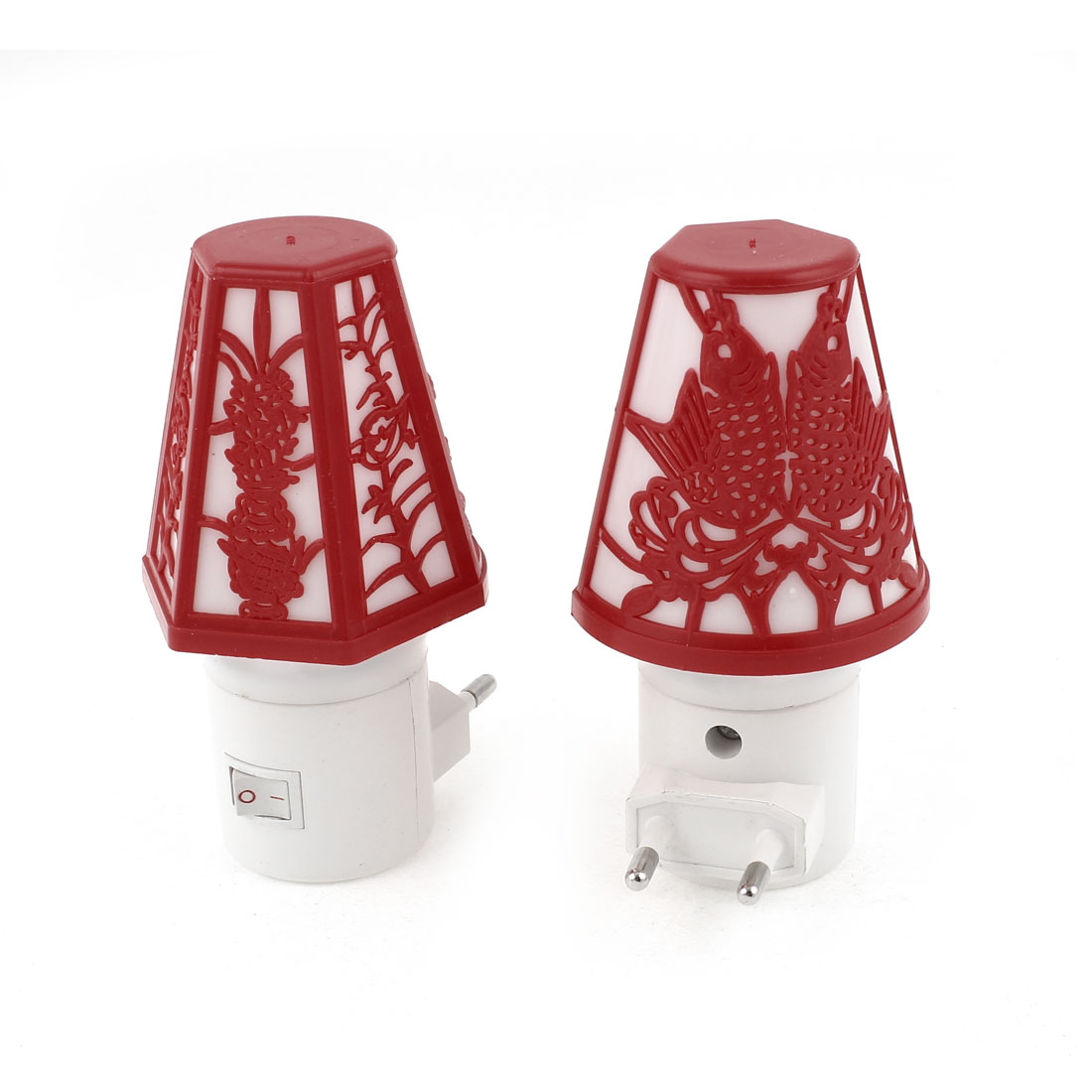 AC 110-250V EU Plug Table Lamp Shaped Colorful LED Night Light 2 Pcs