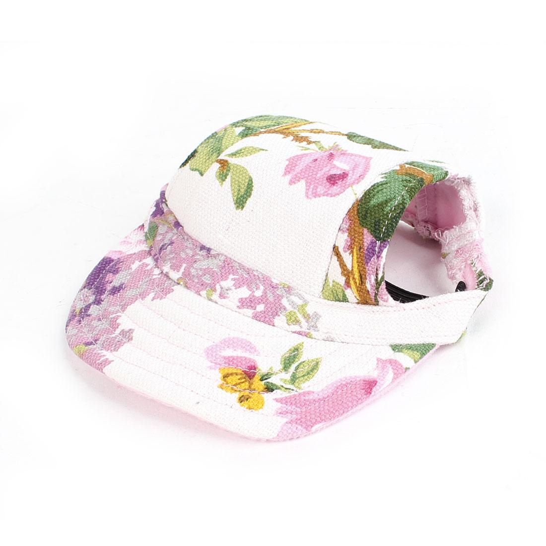 Flower Pattern Elastic Chin Strap Pet Dog Doggy Baseball Cap Visor Hat White Green Pink
