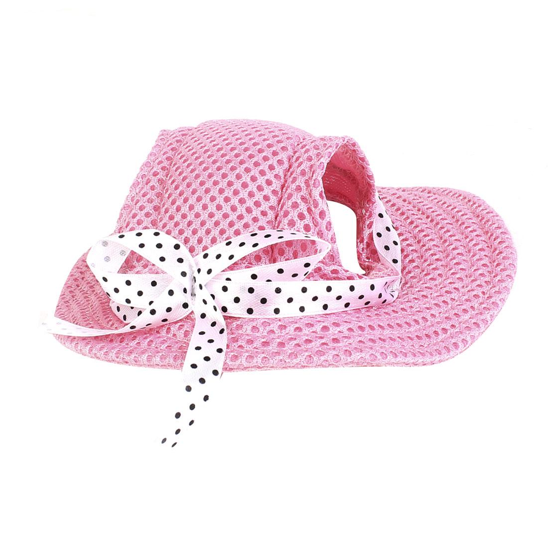 Pet Dog Doggy Bowtie Detail Round BrimFedora Cap Visor Hat Pink Size S