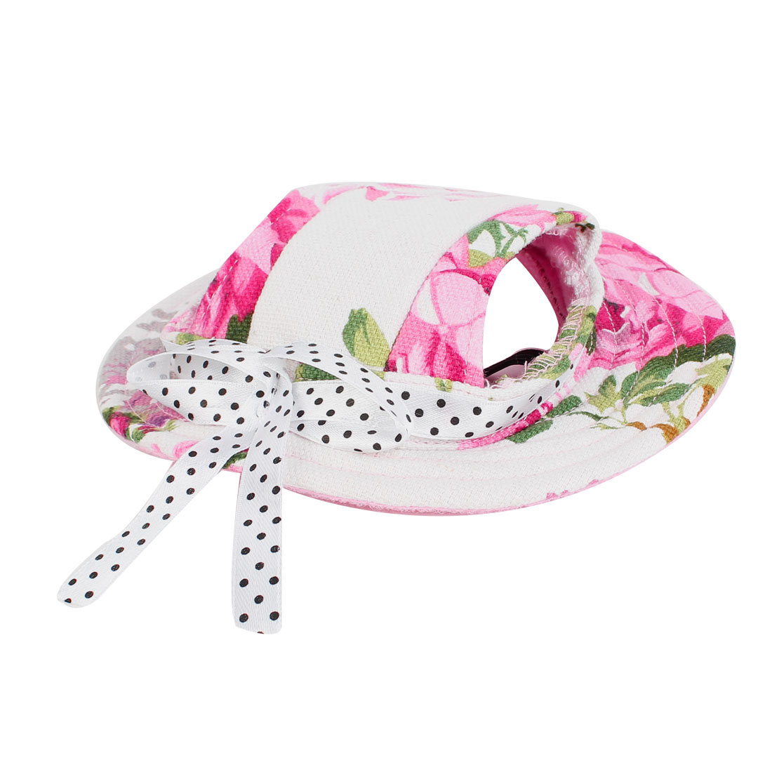 Flower Pattern Bowtie Detail Round Brim Pet Dog Doggy Fedora Cap Visor Hat White Pink Green