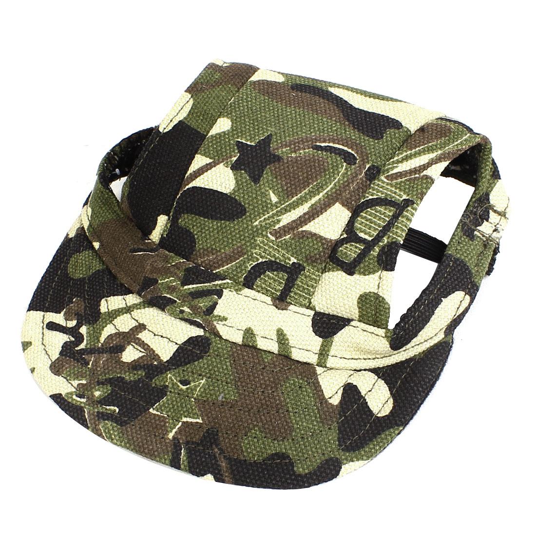 Camouflage Pattern Elastic Chin Strap Pet Dog Doggy Baseball Cap Visor Hat Army Green