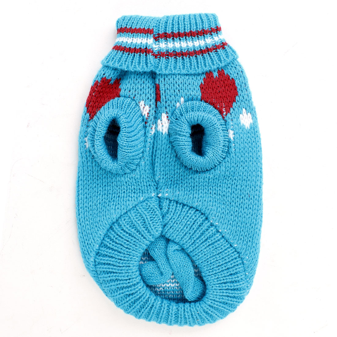 Pet Dog Chihuahua Bone Pattern Ribbed Cuff Knitwear Sweater Clothes Blue Size 6