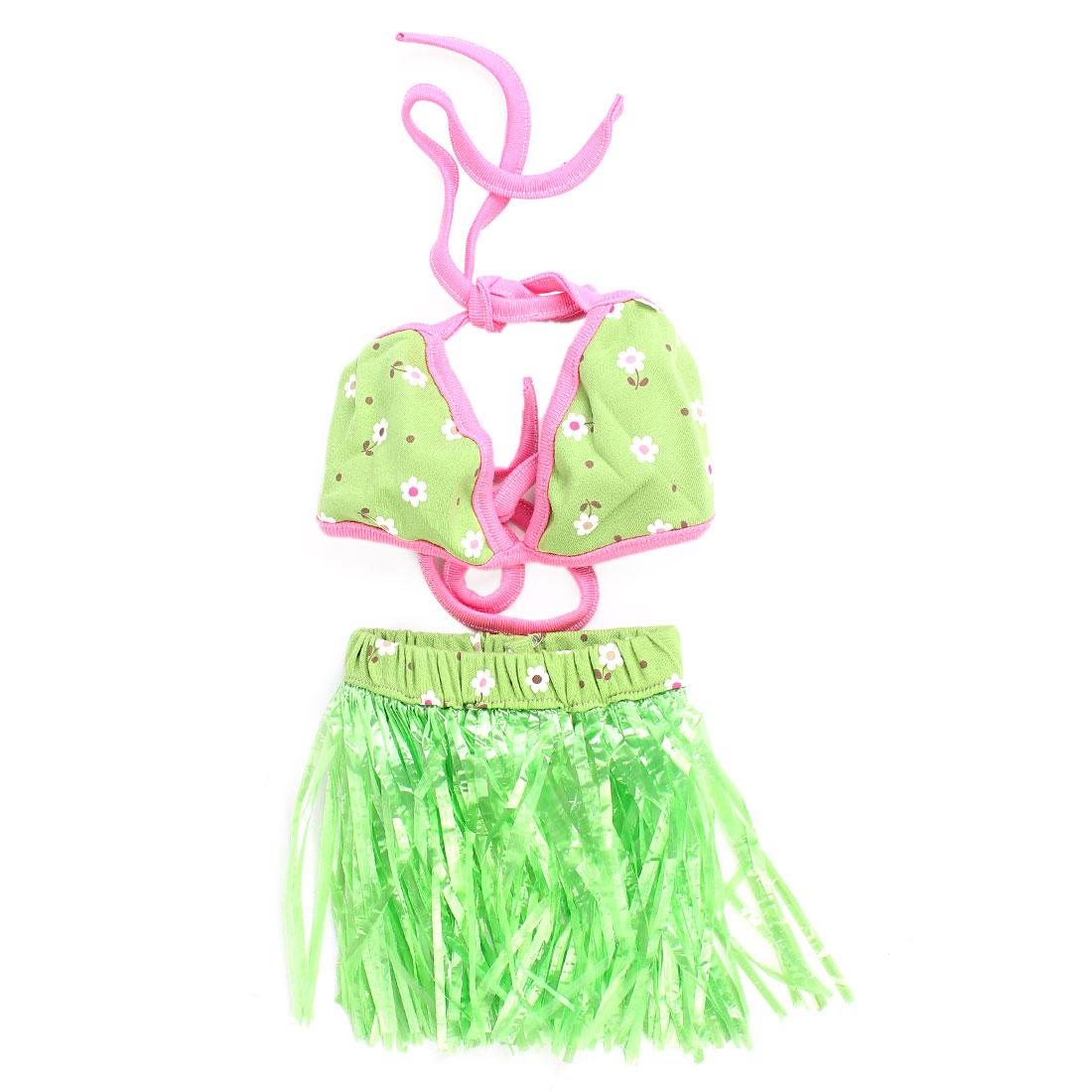 Green Fuchsia Self Tie Pet Dog Puppy Bikini Summer Cool Swim Suit Apparal Skirt Dress Size M