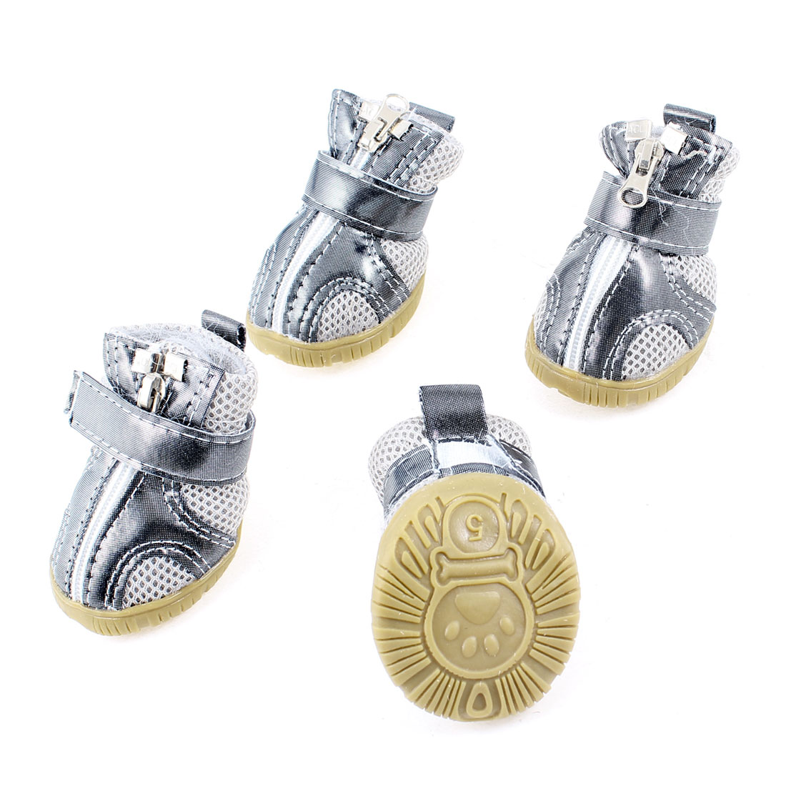 Pet Dog Doggy Adhesive Hook Loop Fastener Zipper Closure Mesh Shoes Boots Booties Gray White 2 Pair Size 5