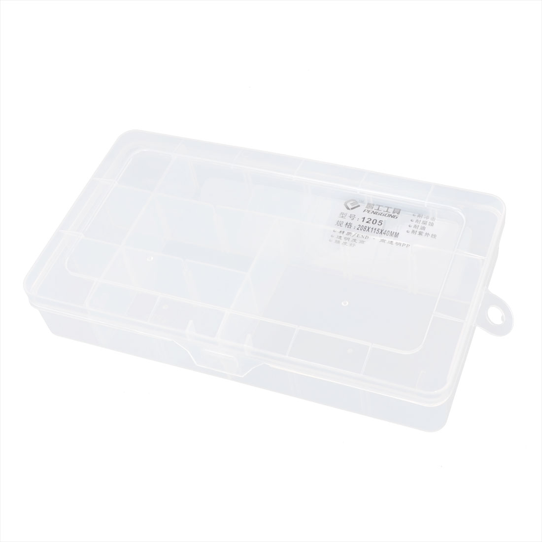 Clear Plastic Adjustable 15 Slots Electronic Component Storage Box Case
