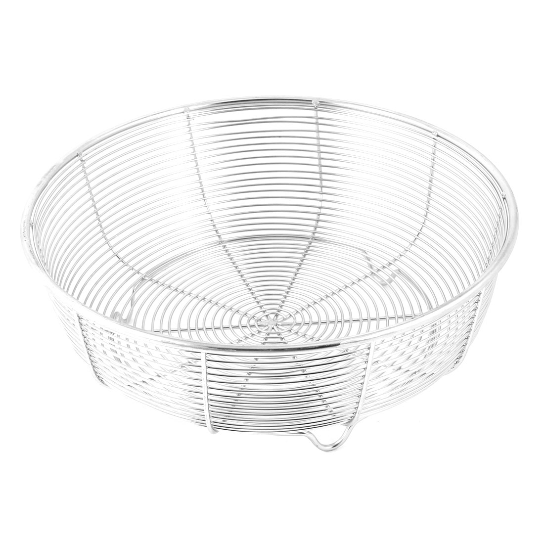 """Hollow Out Design 3 Foot Stand Stainless Steel Fruit Basket 7.9"""" Dia"""
