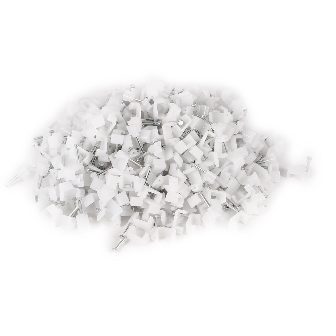 500 Pcs White Plastic Wall Insert 10mm Width Square Cable Mount Nail Clips