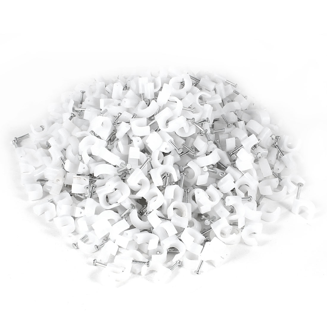 1000 Pcs 8mm Diameter Coax Cable Inserting Circle Nail Clips White