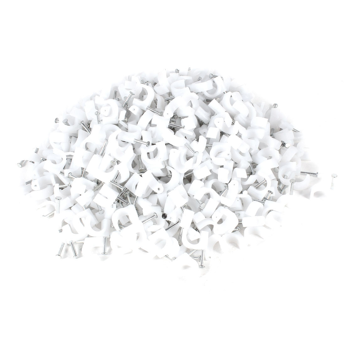 500 Pcs White 10mm Diameter Coax Cable Inserting Circle Nail Clips