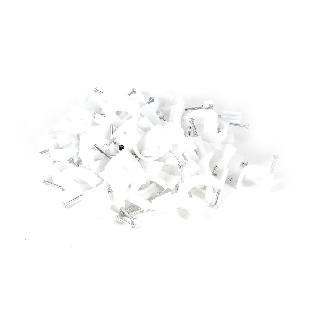 100 Pcs White 25mm Diameter Coax Cable Inserting Circle Nail Clips