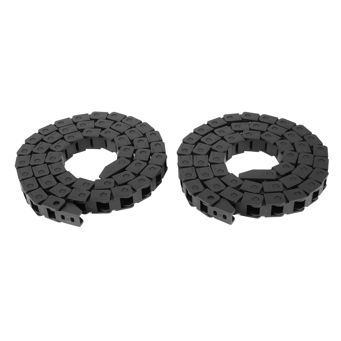 2 Pcs 10mm x 10mm Black Flexible Semi Enclosed Cable Drag Chain 105cm