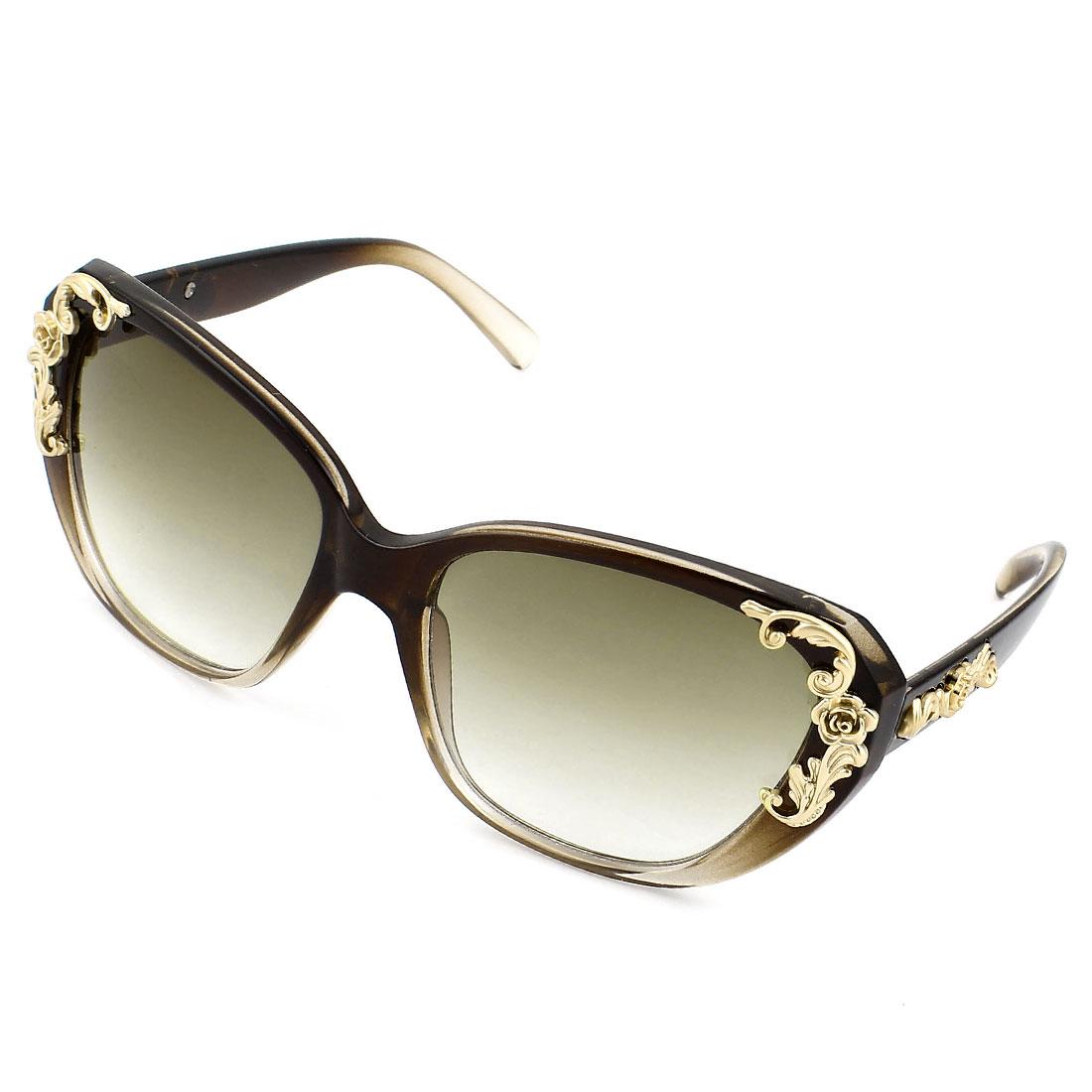 Lady Brown Plastic Frame Full Rimmed Colored Lens Sun Glasses Sunglasses