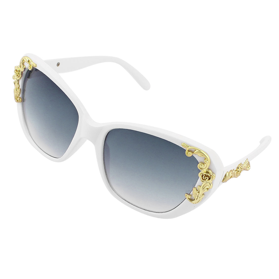 Woman White Full Frame Plastic Bridge Gradient Gray Lens Sunglasses Glasses