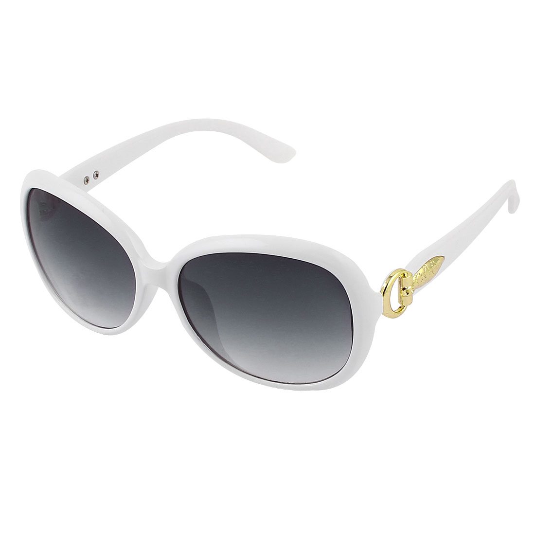 Women White Plastic Full Rim Black Lens Sunglasses Eyeglasses Glasses