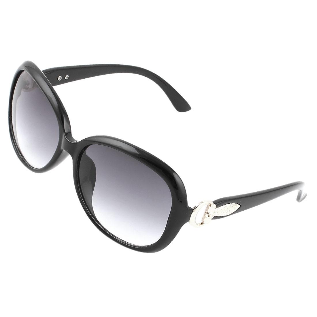 Women Outdoors Hiking Black Plastic Full Rim Frame Sunglasses Glasses