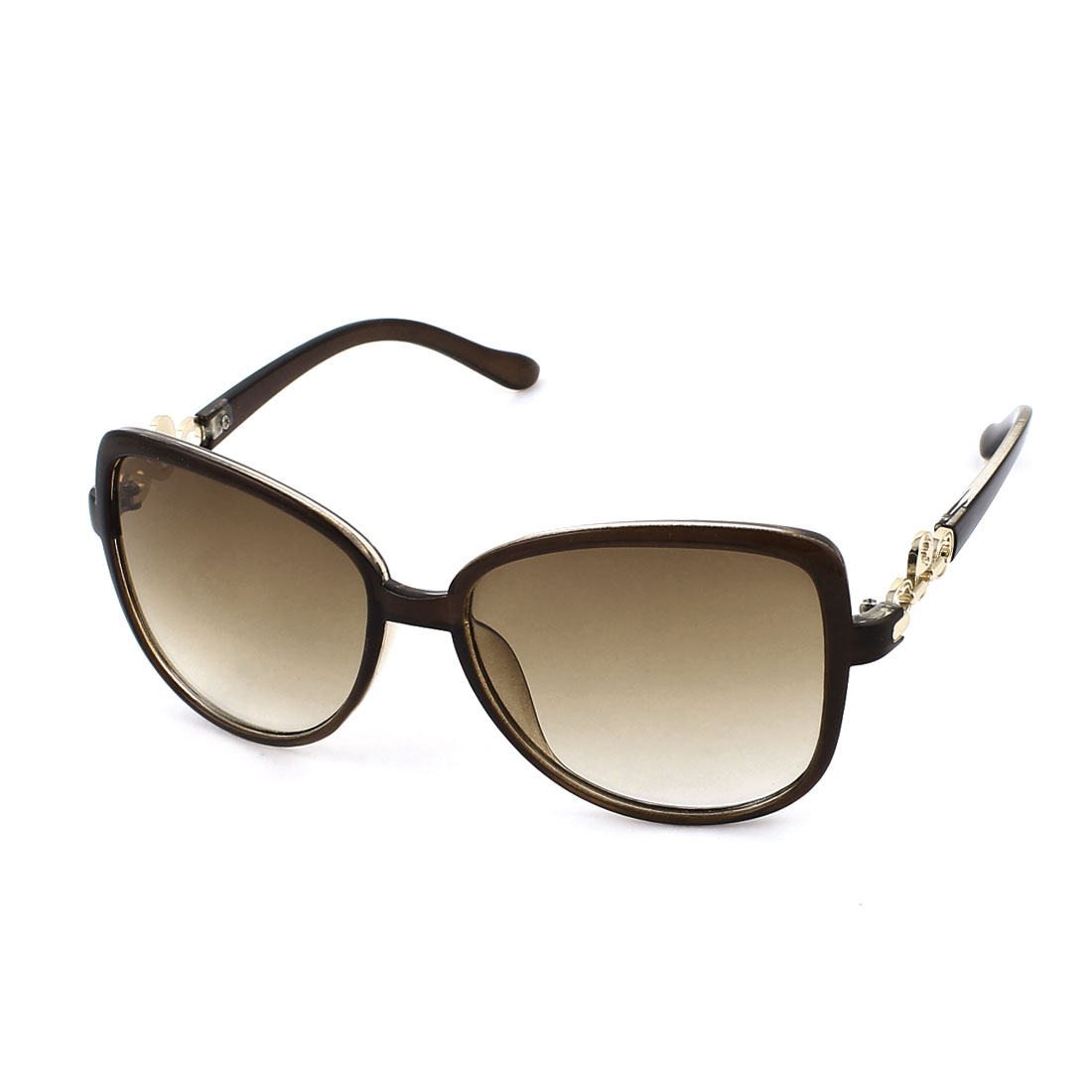 Brown Lens One Bridge Lock Detail Full Frame Sunglasses for Woman