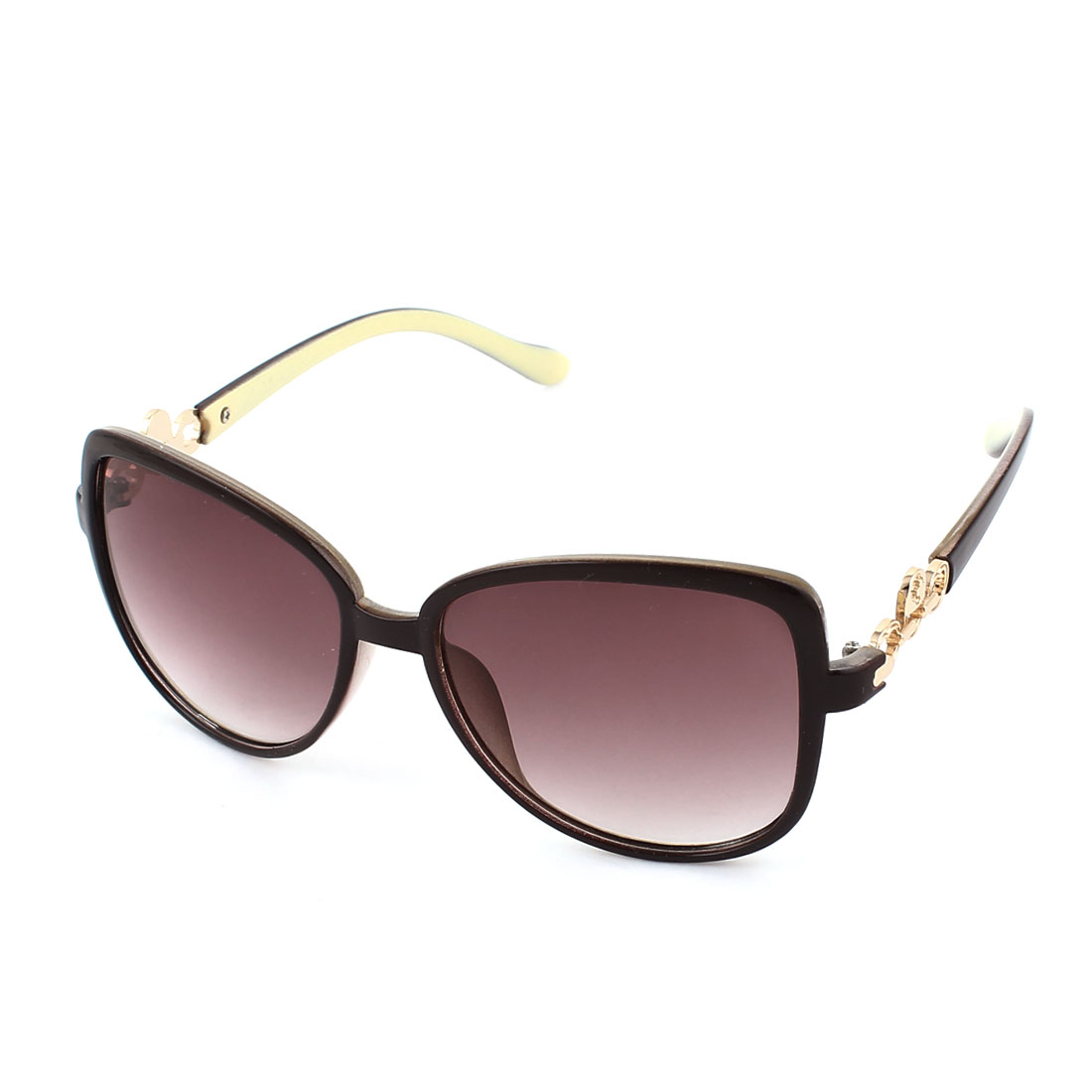 Gold Tone Lock Detail Plastic Full Rim Frame Sun Glasses Sunglasses