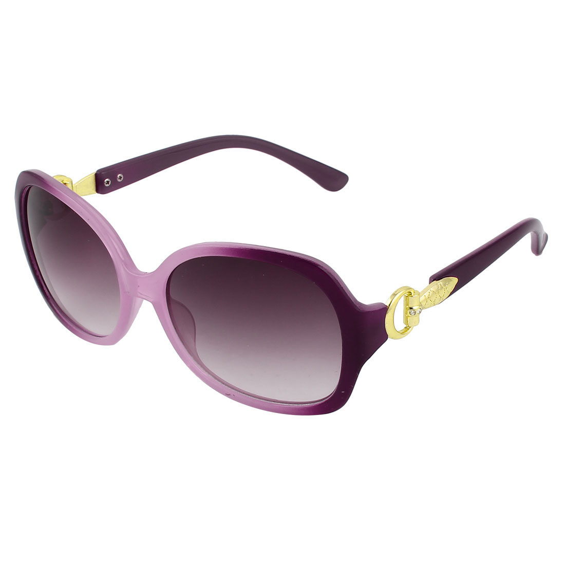 Lady Purple Plastic Frame Single Bridge Full Rim Sunglasses Eyeglasses