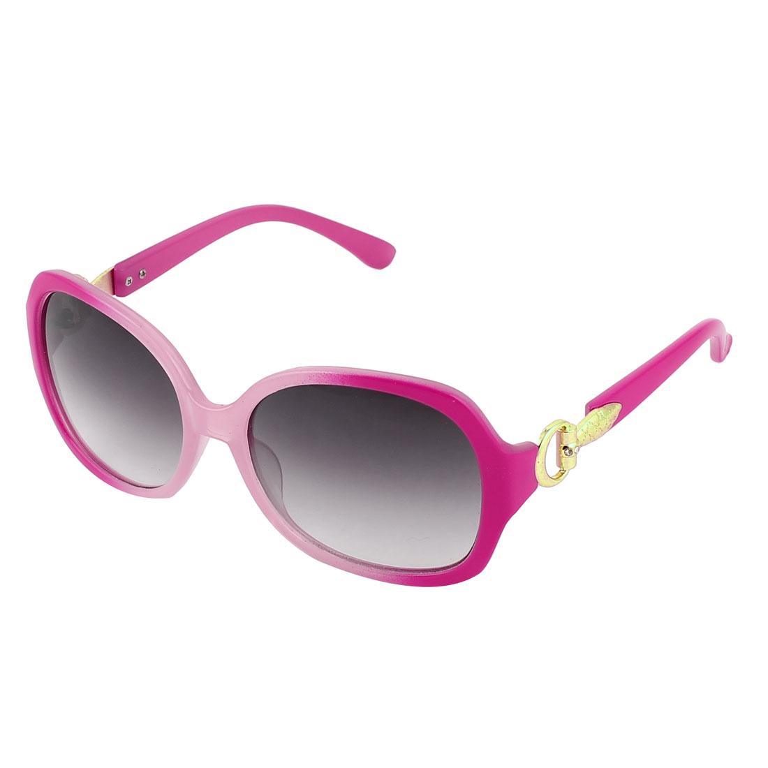 Women Fushcia Plastic Full Rim Frame Black Lens Sun Glasses Sunglasses