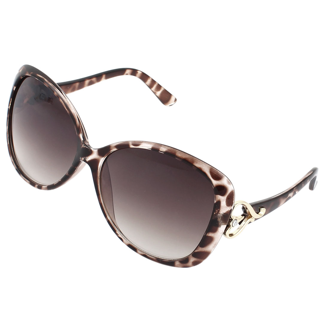 Lady Leopard Print Brown Plastic Arms Rimmed Colored Lens Sunglasses