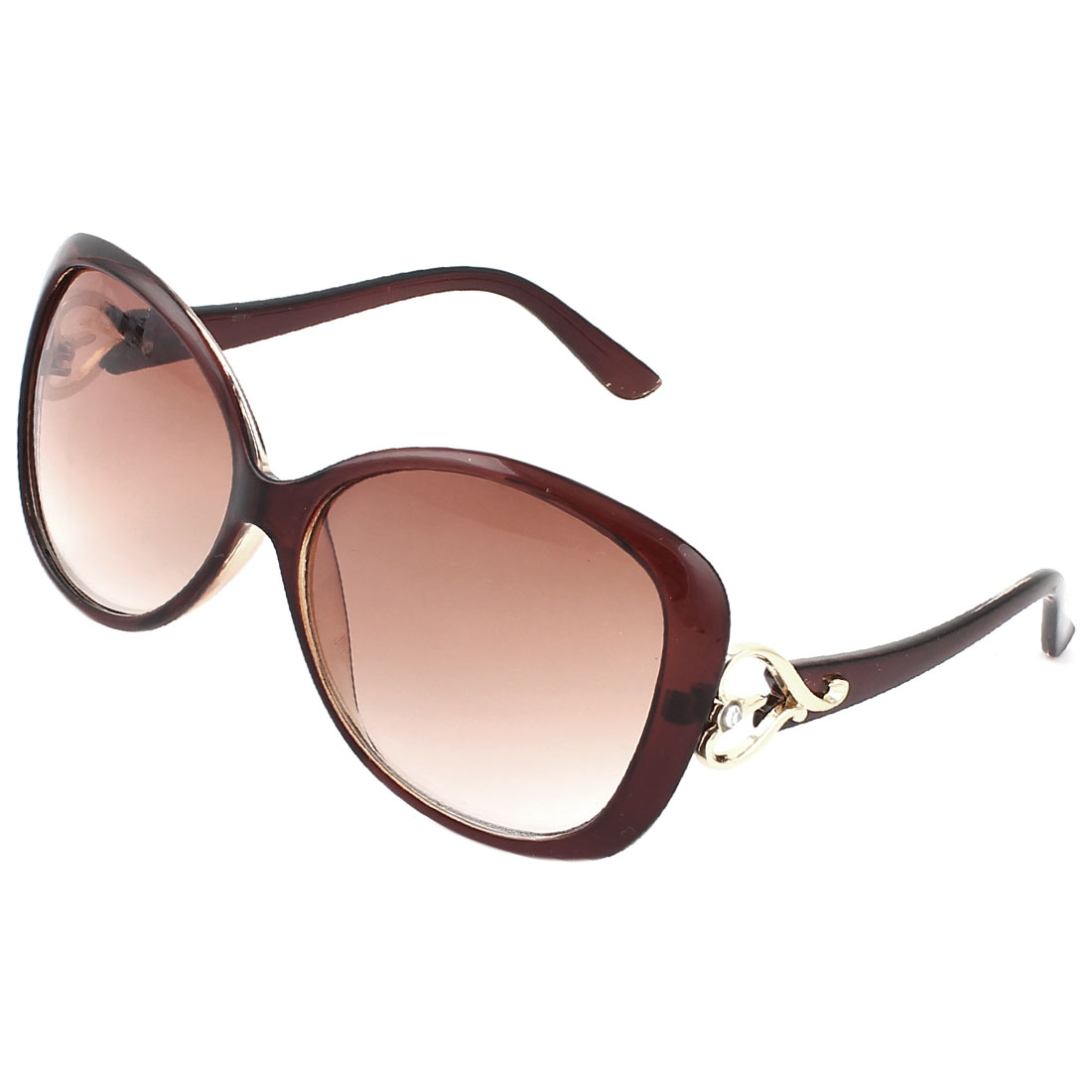Woman Brown Plastic Arms Full Frame Heart Accent Sunglasses Eyewear