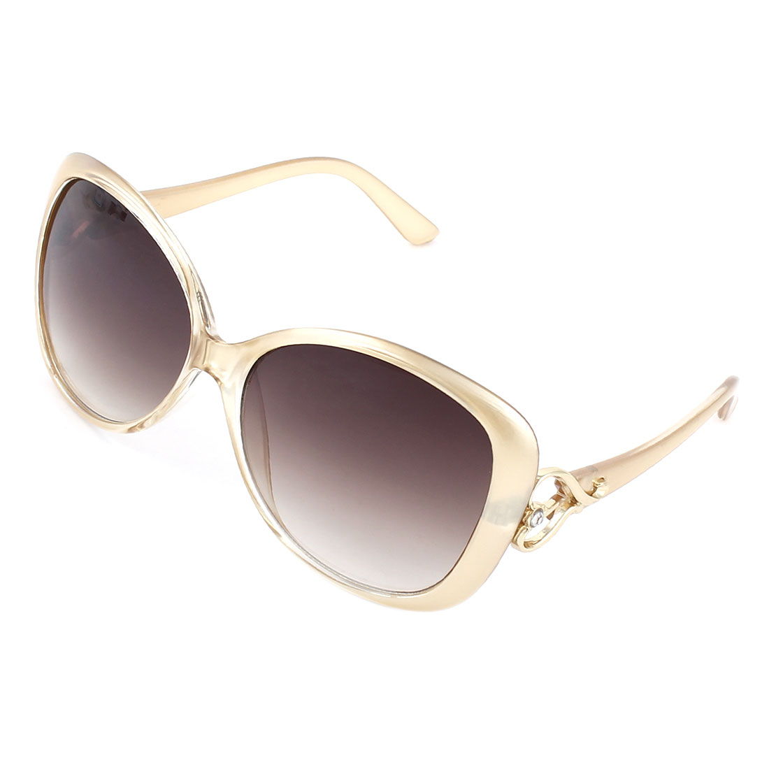 Woman Champagne Color Plastic Arms Full Frame Single Bridge Sunglasses