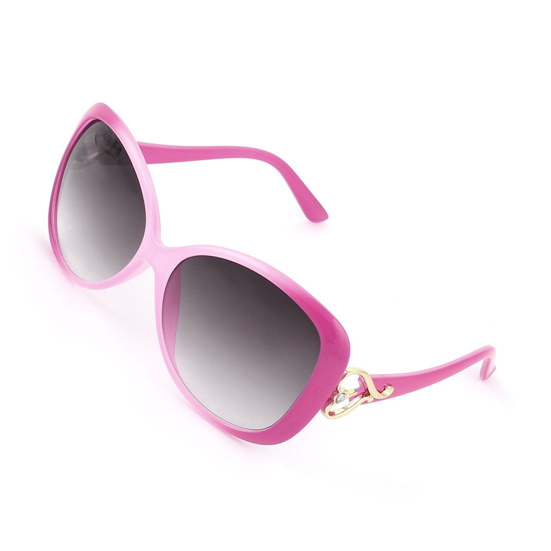 Woman Pink Plastic Arms Full Frame Heart Accent Brown Lens Sunglasses