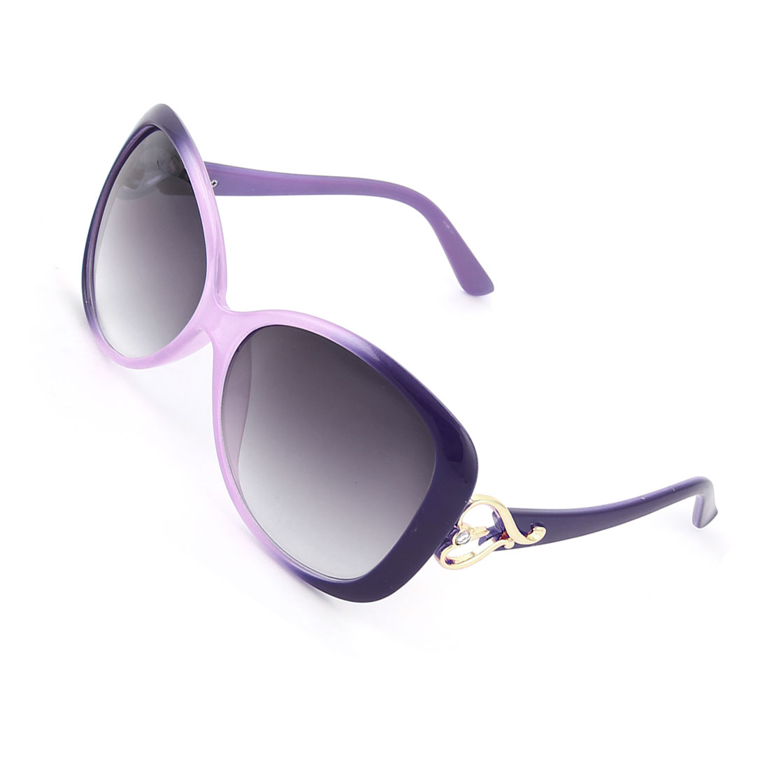 Lady Woman Purple Plastic Arms Full Frame Heart Accent Sunglasses