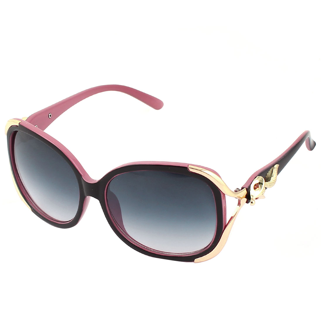 Woman Black Pink Plastic Arms Full Frame Dark Blue Lens Sunglasses