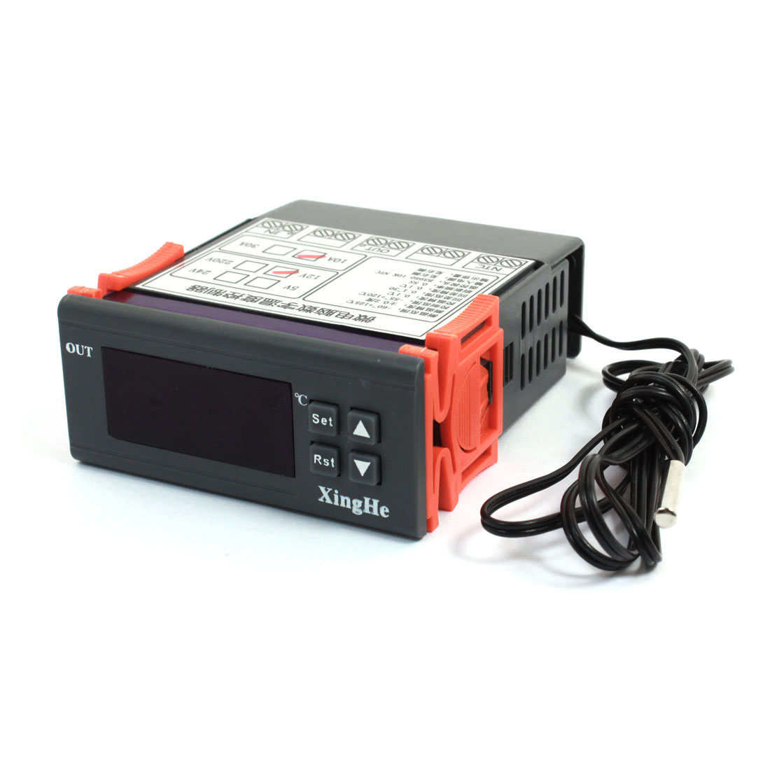 AC 12V 10A -55C to +120C Temperature Controller Gray Black Orange w Thermocouple