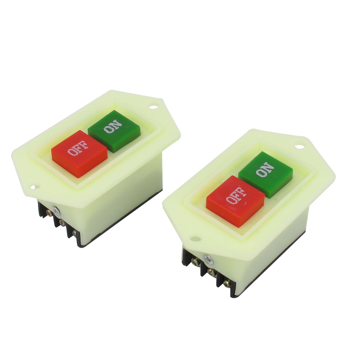 2pcs AC 380V 5A 3P1T Latching On/Off Push Button Switch for Bench Drill
