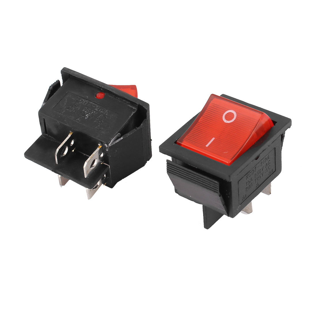 2 PCS On-Off DPST 4Pin Terminals Red Pilot Lamp Rocker Switch AC 250V 15A 125V 20A