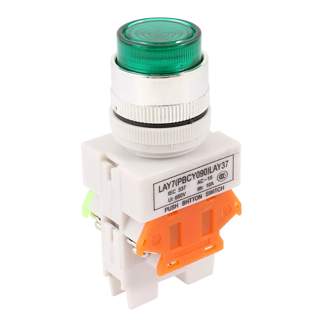 Green Light DPST Latching Emergency Stop LED Push Button Switch AC 220V