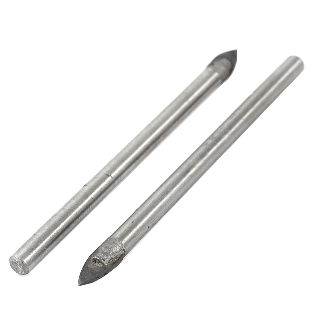 2pcs Metal 5mm Triangle Tip Tile Drill Bit Silver Tone 2.8""