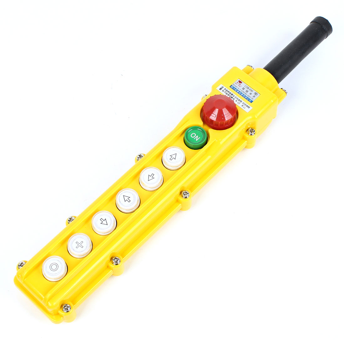 Hoist Crane Control Station 6 Way Push Button Switch Yellow AC 250V/10A 500V/5A