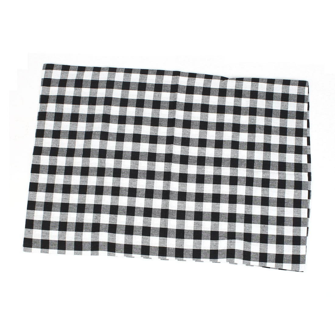 Black White Grid Pattern Cotton Pillow Case Cushion Cover 67 x 47cm