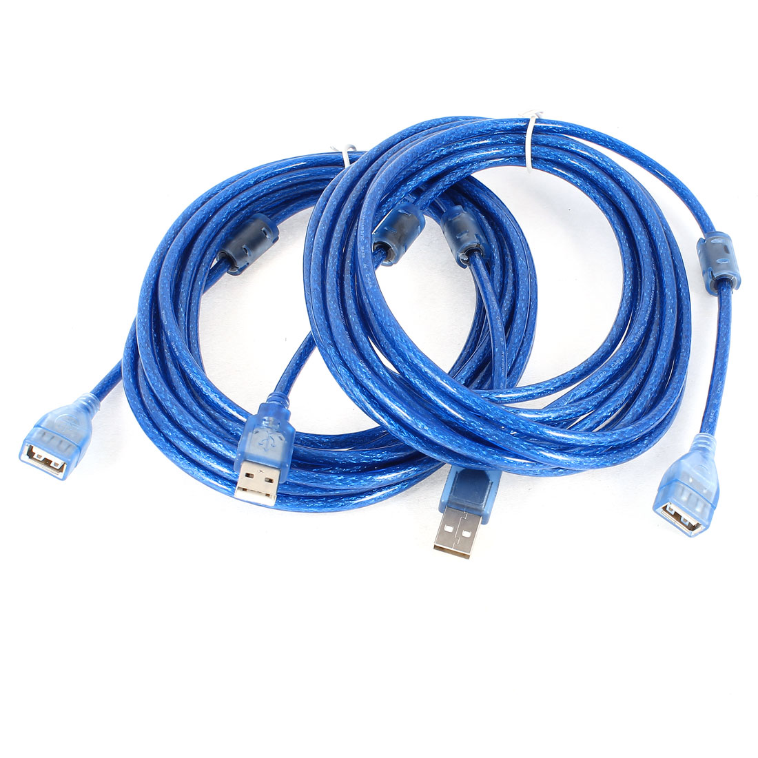 2 Pcs 5 Meter 16Ft USB 2.0 A Male to Female Extension Cable Cord Blue
