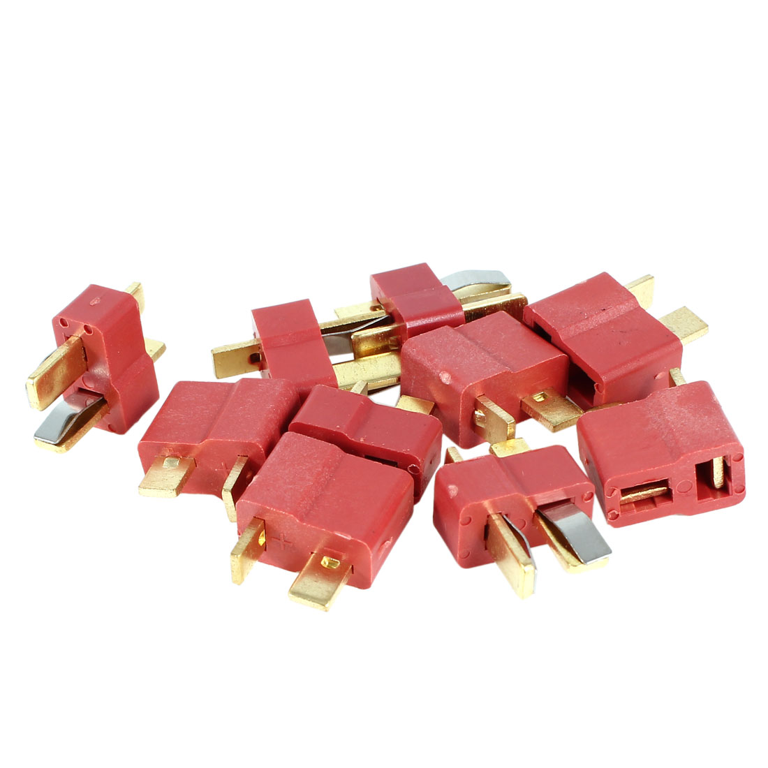 5 Pairs 2-Terminal Golden Plated T-Connect M/F Connector Adapter Red