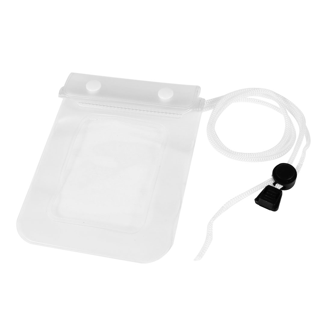 White Plastic Water Resistant Bag Case Pouch w Neck Strap for Cell Phone
