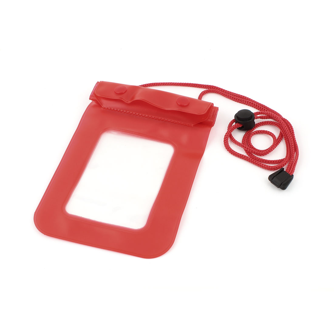 115mmx210mm Soft Plastic Water Proof Case Bag Cover Red Clear for Mobile Phone