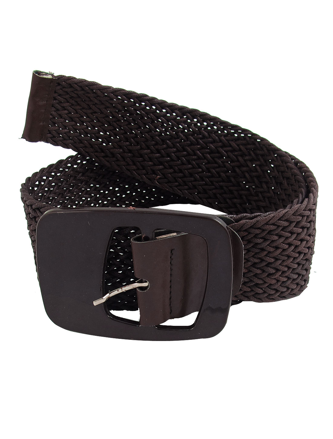 Coffee Color Nylon Single Pin Buckle Braided Soft Strap Waist Belt for Ladies