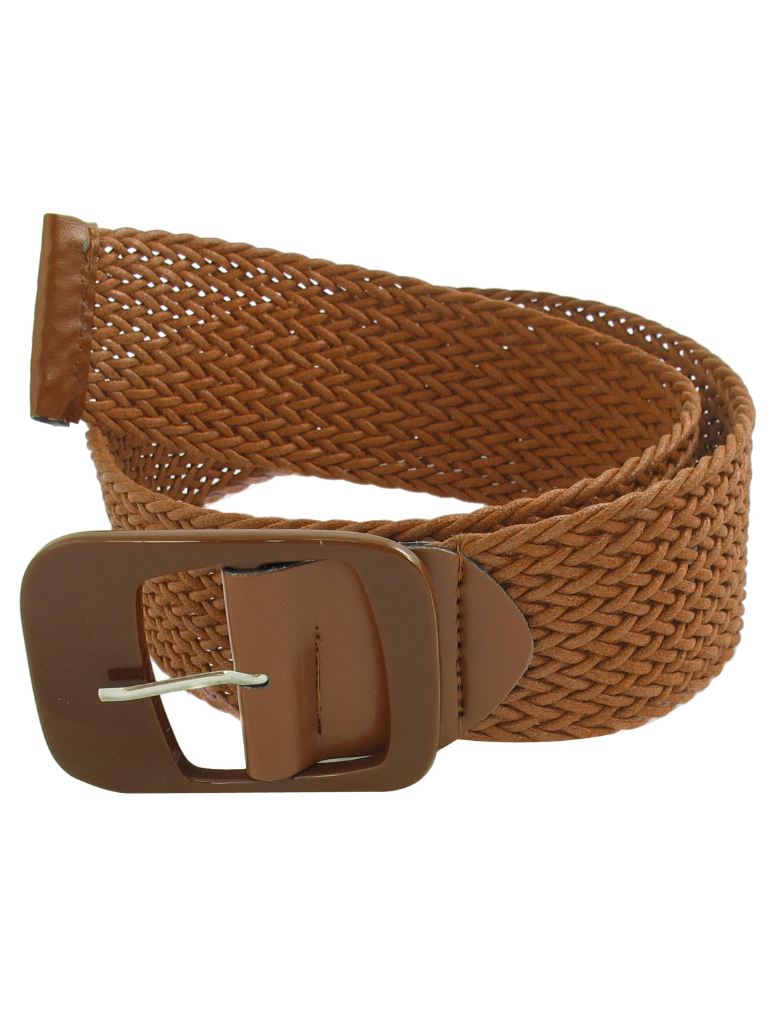 Brown Plastic Single Pin Buckle Knitted Nylon Belt Waist Strap
